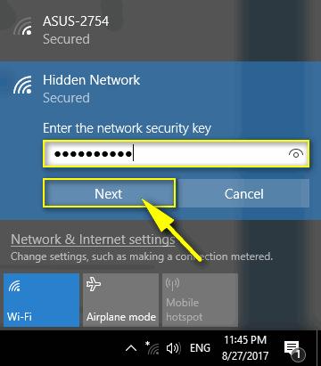 type wi-fi password
