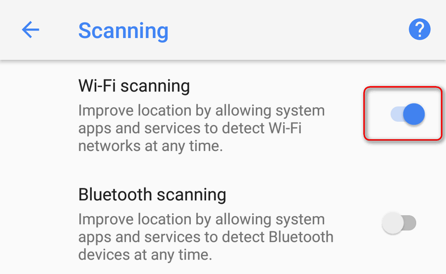 enable Wi-Fi scanning Android 8
