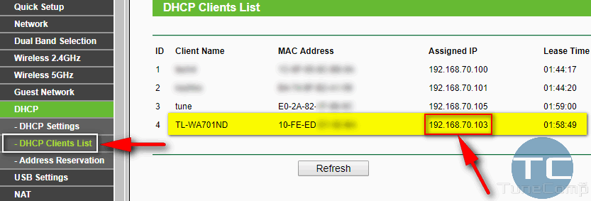 find repeater IP address in dhcp clients list