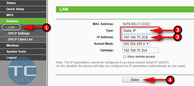 wi-fi repeater static IP address