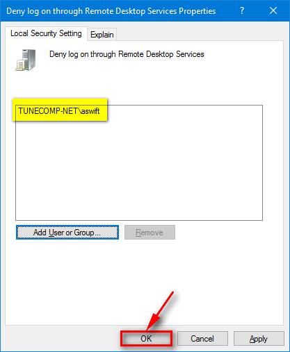 Deny log on through Remote Desktop for selected administrator