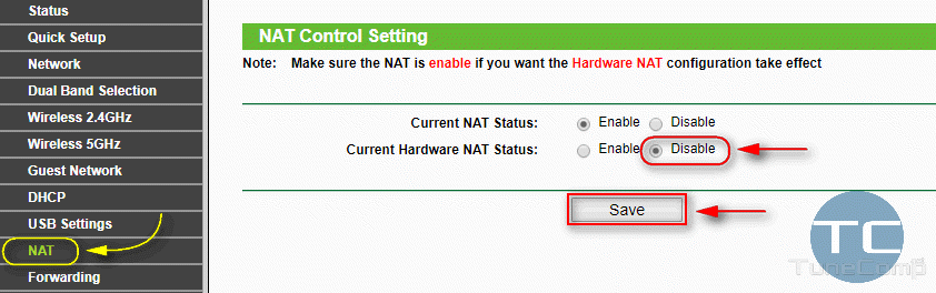 Disable Hardware Nat Status