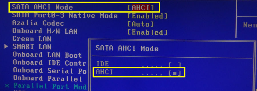 SATA AHCI Mode Enable