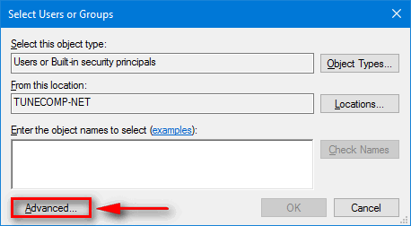 Select Users or Groups - Advanced