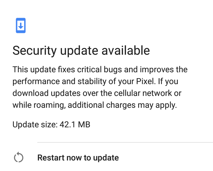 first update for Google Pixel Android 8.0.0