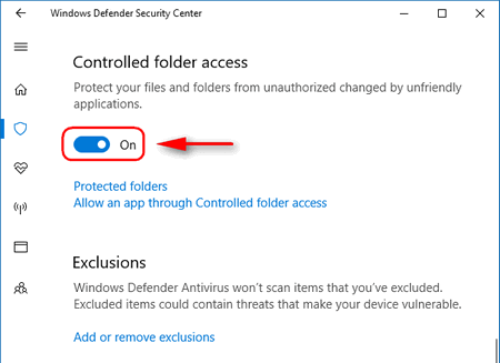 Controlled folder access enable