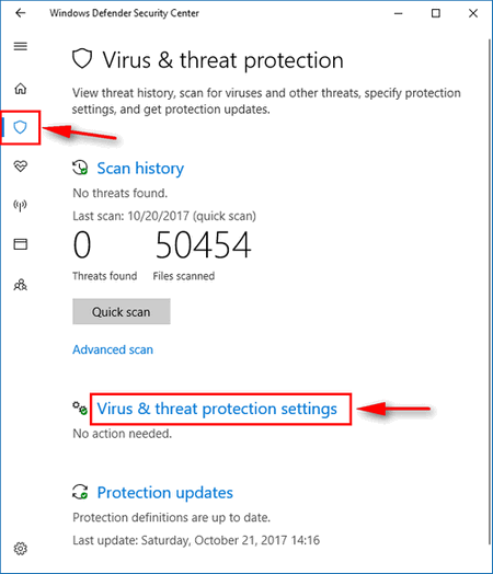 Virus & threat protection settings