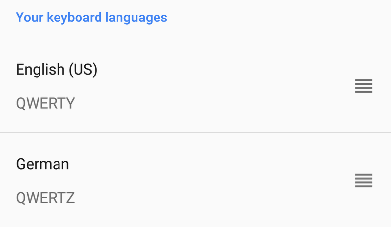 add another keyboard language Android 8
