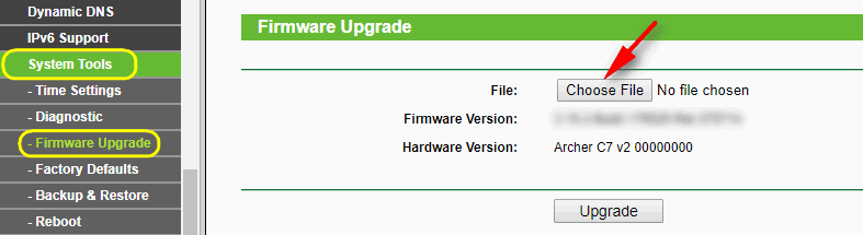 choose file downloaded firmware