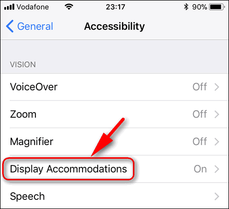 Display Accomodations iOS 11.1