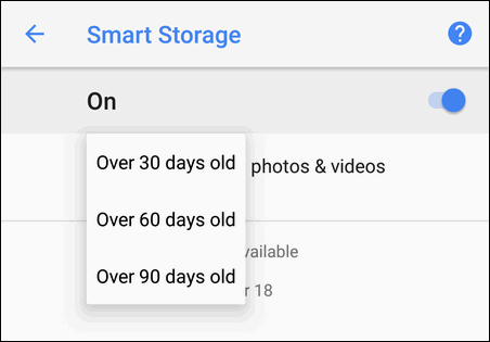 Smart storage select time period