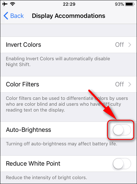 Turn Off Auto-Brightness iOS 11