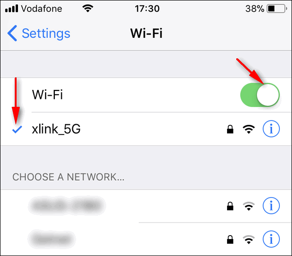 Wi-Fi connected iOS 11.1
