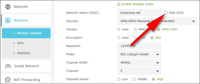 hide ssid on router