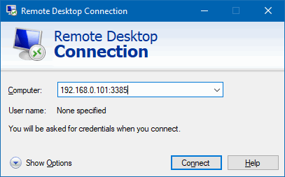 connect to RDP server non-standard port