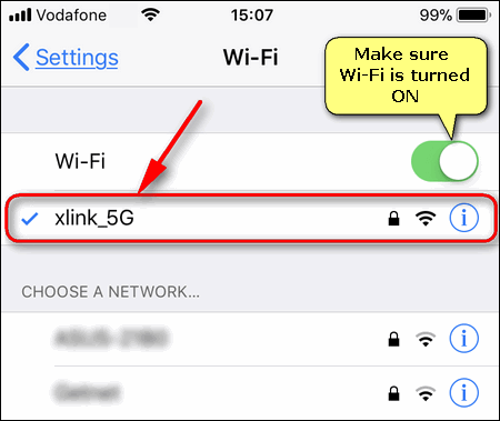 current Wi-Fi network on iPhone