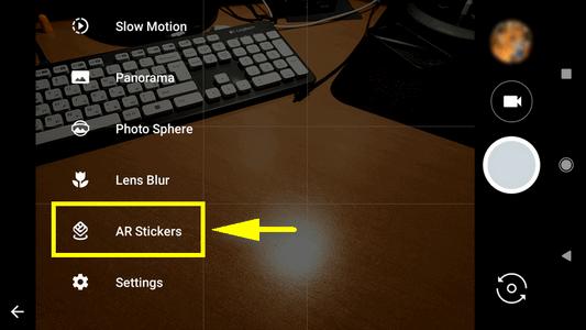 select AR Stickers mode Google Camera