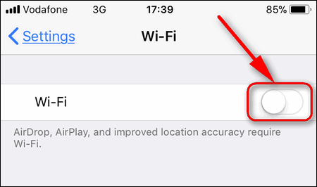 turn off Wi-Fi completely iOS 11.2.5