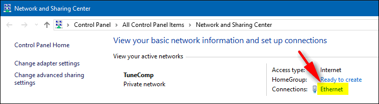 ethernet connection Windows 10