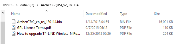 firmware file extracted to a folder