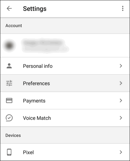 Google Account Preferences Android