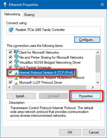IPv4 Properties Windows 10