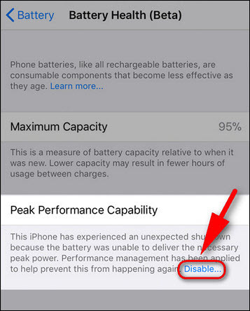 how to disable CPU throttling on iPhone