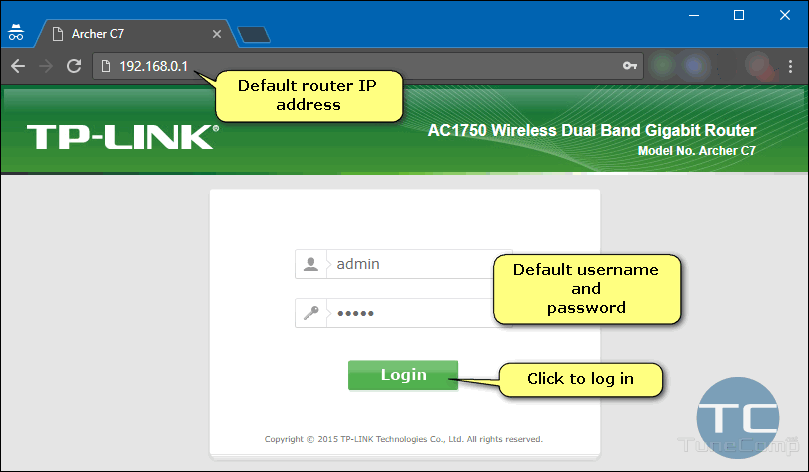 log in to TP-Link router settings 192.168.0.1 admin admin