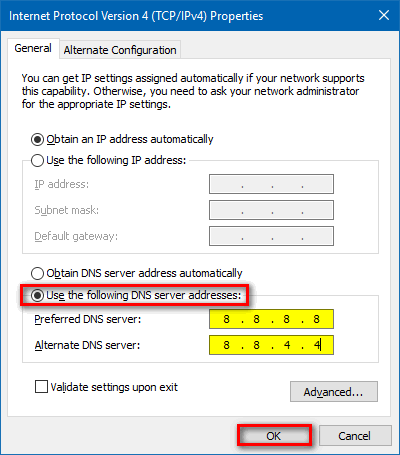 manually assign Google DNS Windows 10