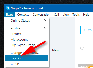 sign out of Skype