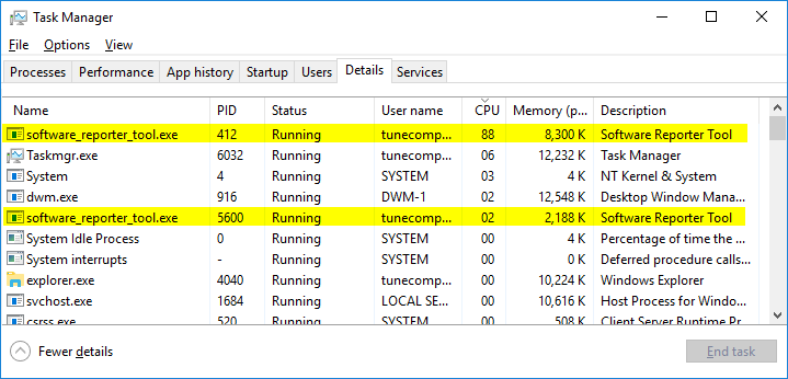 software repoter tool cpu usage Windows 10