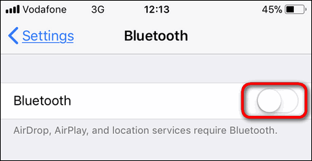 turn off Bluetooth iPhone