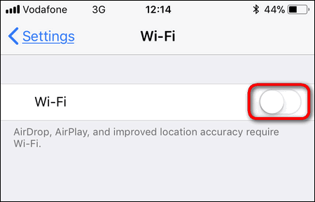turn off Wi-Fi iPhone