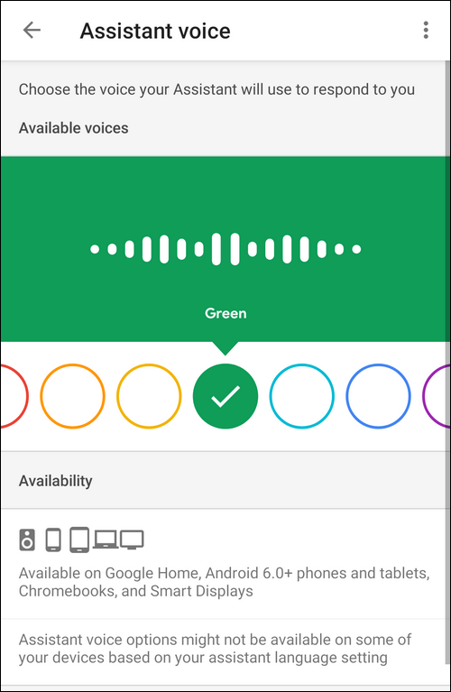 Google Assistant choose male or female voice