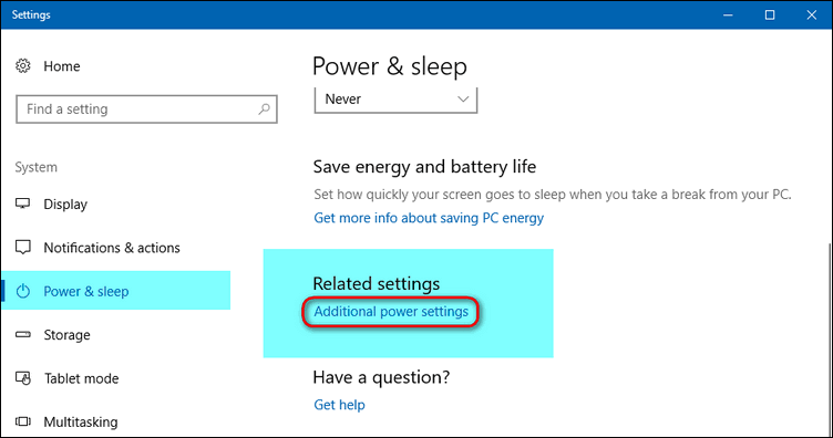 Power & sleep - Related settings - Additional power settings