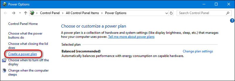 create a power plan Windows 10
