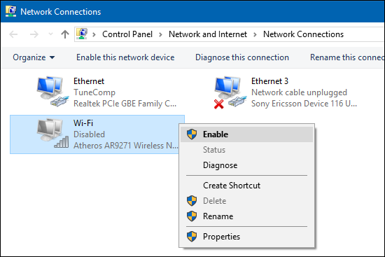 enable Wi-Fi connection