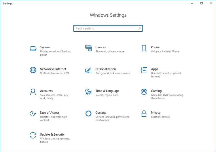 Spring Creators Update Settings App Look