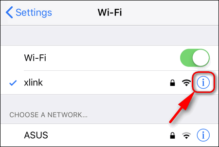 WiFi network information iOS 11
