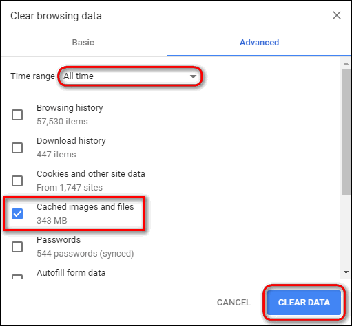 clear cached images and files Chrome Windows
