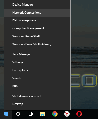 open Network Connections Windows 10