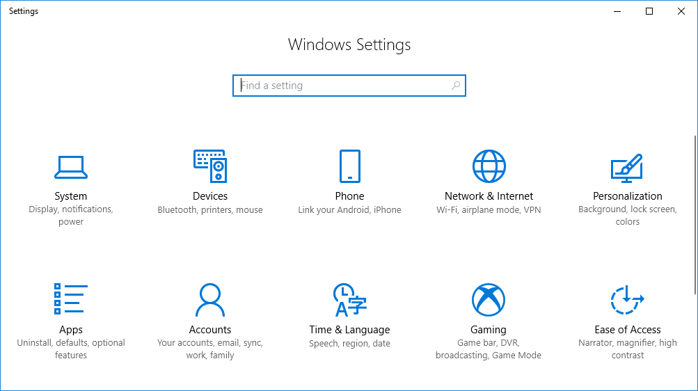 settings Windows 10 fall creators update