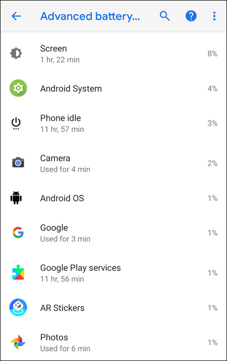 Advanced battery usage Android 9