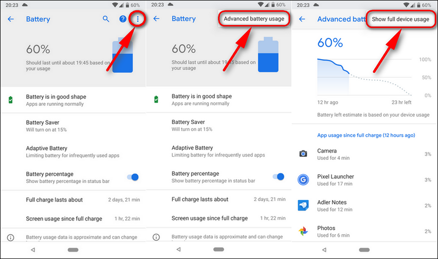 Battery Show Full Device Usage Android 9