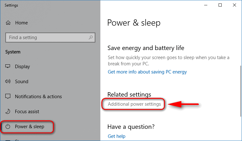 additional power settings Windows 10