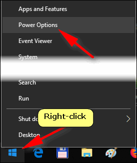 open power options Windows 10