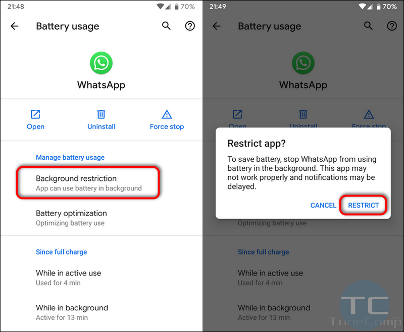 restrict app background activity to save battery Android 10