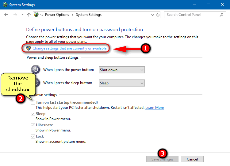 turn off fast startup Windows 10