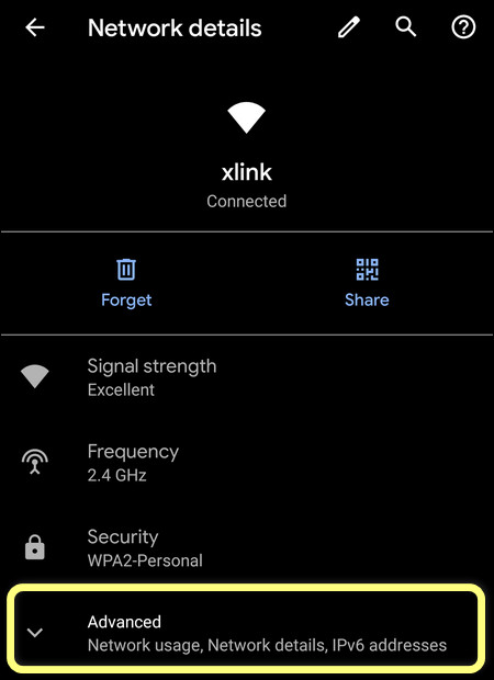Advanced Wi-Fi network settings