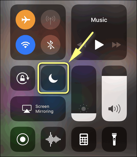Control Center iOS 12 Do Not Disturb